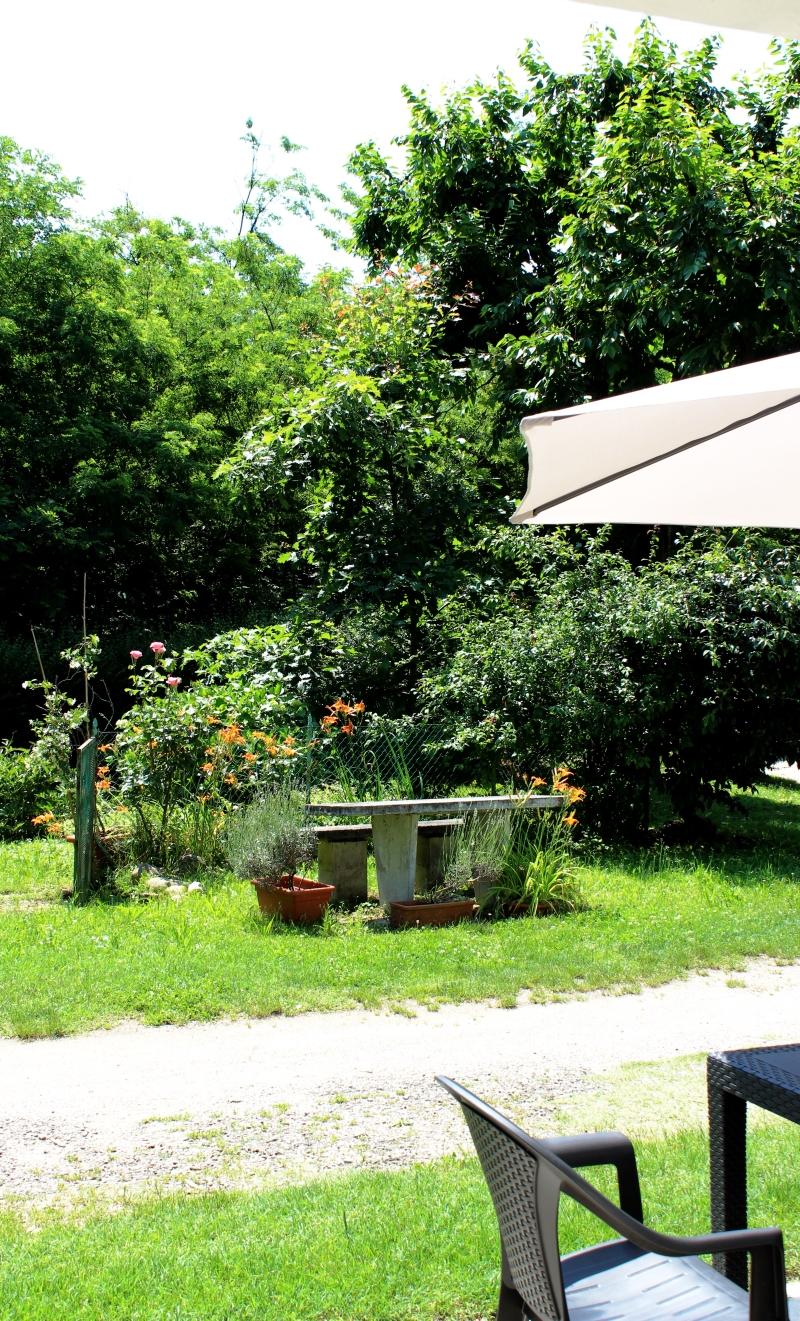 Giardino con tavolo e panche